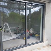 work on new security sliding doors